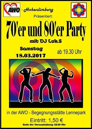 Plakat 70 80er -Party 18.03.2017 Orginal